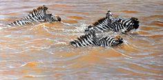 This Way Son, Original Zebra Painting by Alan M Hunt Wildlife Artist - #originalzebrapainting #zebraart