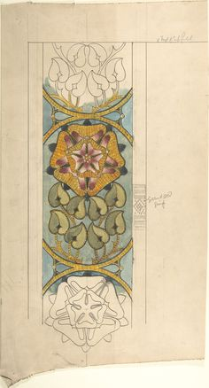late 19th–early 20th century Design for Ecclesiastical Embroidery, Vertical Pattern with Tudor Rose by Ernest Geldart