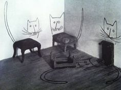 Stool Cats from The best of flair - Saul Steinberg