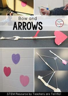 STEM Challenge for Valentine's Day: Make a working bow and arrow! Check the blog post for more! Stem Science, Teaching Science, Stem Classes, Problem Based Learning, Valentines Day Activities, Valentine Ideas, Stem For Kids, Stem Challenges, Stem Projects