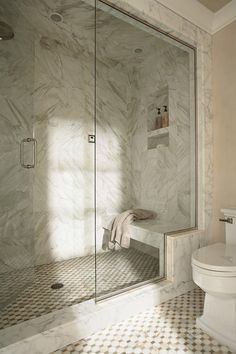 This kind of bench in shower, with stepped glass...