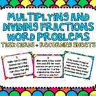 Multiplying and Dividing Fractions Word Problems Task Cards CCS: This set of 20 task cards covers multiplying and dividing fracti. Grade 6 Math, Math Class, Fun Math, Math Activities, Operations With Fractions, Fraction Word Problems, Dividing Fractions, Math Intervention, Math Numbers