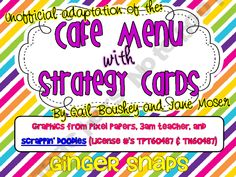 Cafe Menu and strategy cards from Ginger Snaps.  - Free