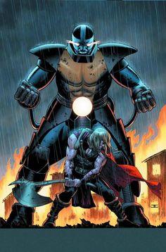Thor vs. Apocalypse - John Cassaday En Sabah Nur, Marvel Characters, Avengers Movies, Marvel Comic Character, Comic Book Characters, Marvel Villains, Comic Book Artists, Marvel Now, Marvel Comics Art