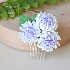 Hair accessories Purple flower Winter Wedding hair comb Chrysanthemum White Comb Bridal hair comb Decorative comb Wedding Bridal hair piece by WisteriFlower on Etsy https://www.etsy.com/listing/280163702/hair-accessories-purple-flower-winter