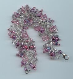 Pink glass beads with clear seed beads Caterpillar bracelet made by Donia Reitzel (Owner of N2Beadz on Etsy)