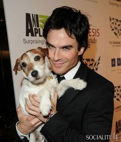 Ian Somerhalder Honored At The Genesis Awards, Poses With Uggie The Dog