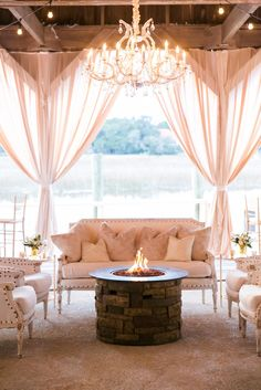 Lounge Vignettes With Fire Pit | DANA CUBBAGE WEDDINGS | KATHLEEN WITH KING STREET | http://knot.ly/6491BtQdD