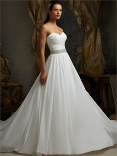 Strapless Sweetheart Beaded Pleated Small Train Chiffon Wedding Dress WD1625 www.tidedresses.co.uk $268.0000