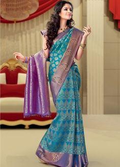 peacock colors wedding kanchipuram saree - Google Search