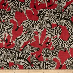Waverly Herd Together Ruby from @fabricdotcom  Screen printed on a linen/rayon blend; this versatile, heavyweight fabric is perfect for window treatments (draperies, valances, curtains and swags), accent pillows, upholstering furniture, headboards, ottomans and poufs. Colors include red, black and cream.