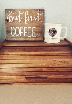 But first Coffee small wooden sign by lisamarieletters on Etsy