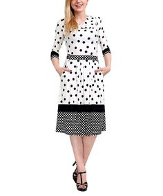 Look what I found on #zulily! White Polka Dot Cowl Neck Dress by Reborn Collection #zulilyfinds