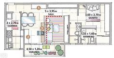 Planta apartamento de 65m².