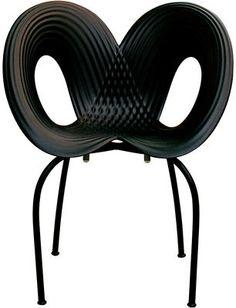 Fauteuil empilable Ripple chair / Polypropylène & pieds métal Coque noire / pieds noirs - Moroso