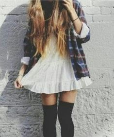 Flannel over dress with knee high socks {IG: @n.ehiipra}