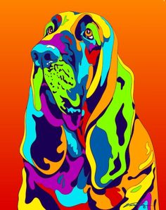 Multi-Color bloodhound Dog Breed Matted Prints & Canvas Giclées