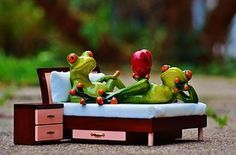 #Frog, Love, Bed, Bedside Table, Heart