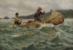PHILIP GOODWIN Trappers In A Canoe Oil on Canvas...