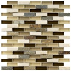 Merola Tile Tessera Subway Nassau 11-3/4 in. x 11-3/4 in. x 8 mm Glass and Stone Mosaic Tile, Multicolored Browns/Mixed Finish