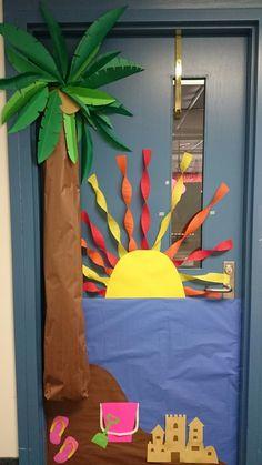 Summer theme classroom door decoration. Tropical