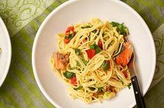 Salmon Spaghetti with Plum Tomatoes and Avocado