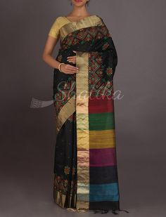 Rohita Bold Work Border Band Of Colors Pallu #ChikankariSilkSaree
