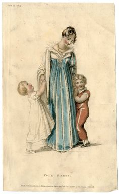 Children 1800-1849, Plate 001. 1800-1849. Metropolitan Museum of Art (New York, N.Y.). Costume Institute. Fashion plates, 1790-1929 Costume Institute Fashion Plates. #life #adorable | The bond between a mother and her children.