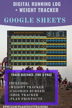 DIGITAL RUNNING LOG FOR GOOGLE SHEETS With this Running Log, not only can you track your miles run and time, but you can also use this to track your weight and estimate calories burned. This Running Log allows you to create and modify your training plan as well as label your runs to help you track the types of runs you do (i.e. speed training, recovery, & distance). Also included is a data dashboard that displays your data through lists and graphs, which can be rearranged or removed as needed. Training Schedule, Training Plan, Marathon Training, Calories Burned, Burn Calories, Track Distance, Running Hills, Data Dashboard