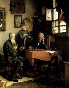 Playing Chess , Carl Maria Seyppel. Germany (1847-1913)