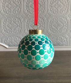 Hand Painted Turquoise and White Ceramic Dot Mandala Christmas Ornament Bulb