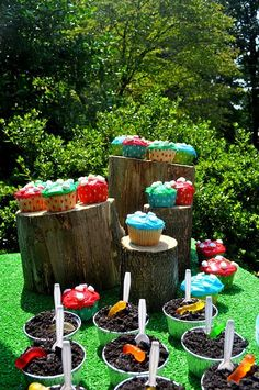 Mushroom cupcakes & Chocolate dirt w/ gummi worms