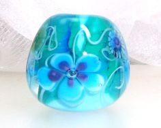 Handmade Lampwork Bead Aqua Blue Violet by elizabethsbeads on Etsy, $20.00