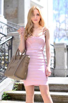 Bandage dress: French Connection. Bag: Celine.