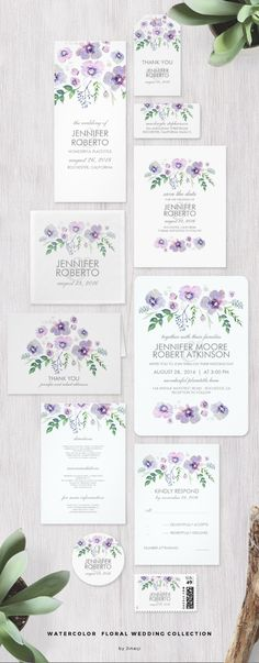 Watercolor Floral Wedding Invitation Set | Violet, Lavender and Lilac purple flowers | Outdoor Garden wedding.
