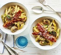 Eggs, bacon and sausage - not a breakfast plate, but a delicious budget pasta dish with creamy sauce and parsley, from BBC Good Food. Bacon Sausage, Bacon Pasta, Bbc Good Food Recipes, Cooking Recipes, Budget Recipes, Sausage Recipes, Vegetarian Recipes, Healthy Recipes, Carbonara With Egg