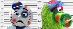 Mr Met vs Phillie Phanatic mug shots after brawl