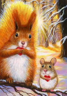 HEARTS FOR FRIENDS - These two little friends are sharing hearts on a snowy day in the forest. Baby Animals, Cute Animals, Forest Painting, Painting Art, Red Squirrel, Woodland Creatures, Forest Animals, Art Plastique, Mammals
