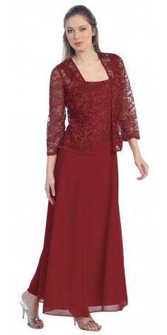 Long Chiffon Burgundy Mother of Groom Dress Lace Long Sleeve Jacket