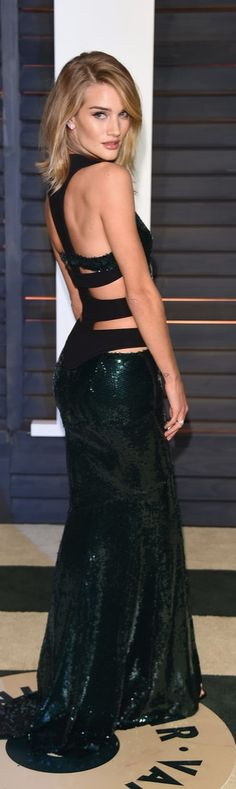 Rosie Huntington-Whiteley in a sexy cutout dress at the Vanity Fair Oscars party