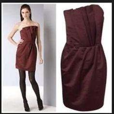 French Connection origami strapless dress Gorgeous wine/ burgundy color fabric. Cotton/polyester. Falls above the knee. Fitted bodice with boning. Runs small. I'm usually a size 0 or 2, but this size 6 fit me well. Excellent condition, the only flaw is the boning is peeking out inside, not visible when wearing (shown in the last picture). Price reflects this flaw. Already dry cleaned. French Connection Dresses Strapless