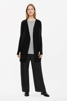 c5bbbbb4 COS image 1 of Long wool-cashmere cardigan in Black Long Cardigan, Cashmere  Cardigan