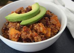 Sweet Potato & Quinoa Chili is a perfect, hearty dish that will make a great dinner or lunch no matter the season. You will be able to power through any day with the protein of the quinoa and the natural sugars of the sweet potato. The mixture between these two flavors and textures is unique and satisfying. Add some avocado for some extra creaminess and a splash of delicious color. Make this vegetarian quinoa chili the for dinner, and youll never want to go back to your old chili recipe.