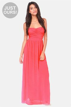 LULUS Exclusive Slow Dance Strapless Coral Maxi Dress at LuLus.com!