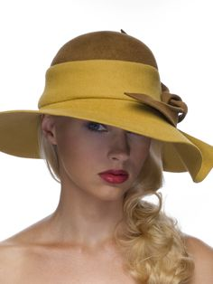 99040f33664 Mustard Medium Floppy Felt Brim - Coffee High Round Crown - Wave Brim with  Coffee Deconstructed Flower - Grosgrain Inside Band - Made To Order On  Premise
