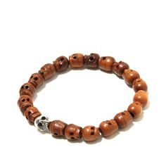 Jollene Luv ~ totally thought of you when this came across my path!  !! WTAPS wood & silver skull bracelet