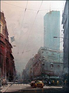 Dusan Djukaric (Bosnian, b. 1971, Teslic, Bosnia, former Yugoslavia, based Belgrade) - View on Beogradjanku Paintings: Watercolors