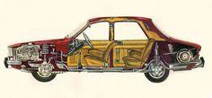 Dacia cut-away 1978 Fiat 850, Mechanical Art, Audi Sport, Car Advertising, Car Sketch, Car Drawings, Go Kart, Electric Cars, Cars And Motorcycles