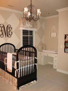 I like the idea of using the built in desk as a changing table. Its perfect for apartments that are set up that way.