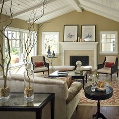 Cottage style - white wood pitch beamed ceiling. This is what I want for my pitched ceiling!!